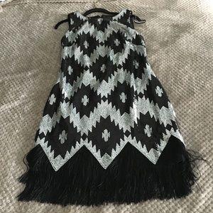 vince camuto zigzag-sequin fringe hem dress